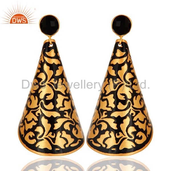18K Yellow Gold Plated Brass Handmade Black Enamel Designer Earrings With Onyx