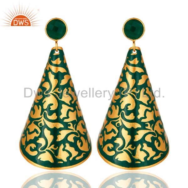 18k Gold Plated Green Onyx Handmade Unique Designer Earrings With Enamel Work