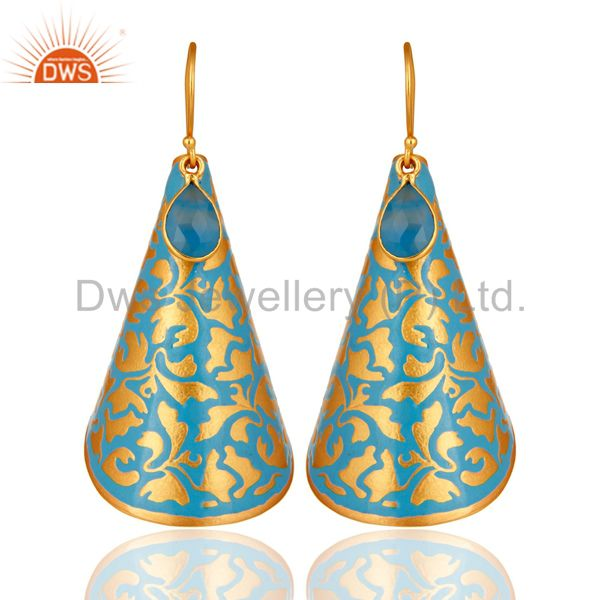 Yellow Gold Plated Blue Chalcedony Artisan Made Enamel Paint Designer Earrings