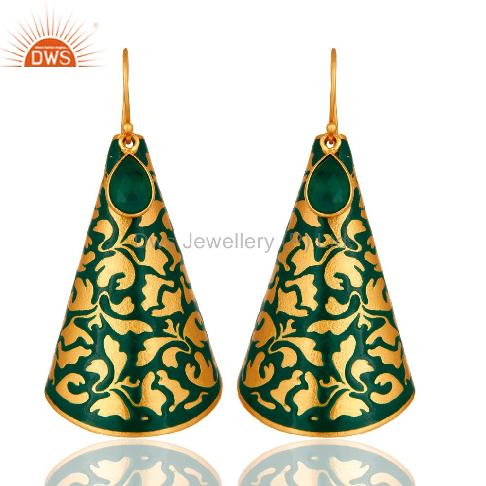 Designer Green Onyx Gemstone 18K Gold Plated Earrings With Green Enamel Paint