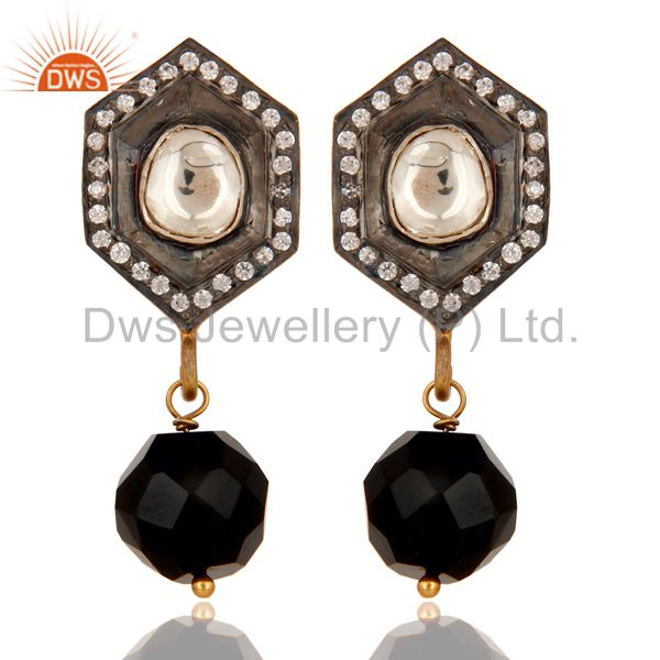 Black Onyx and Crystal Polki Black and Yellow Gold Plated 925 Silver Earring