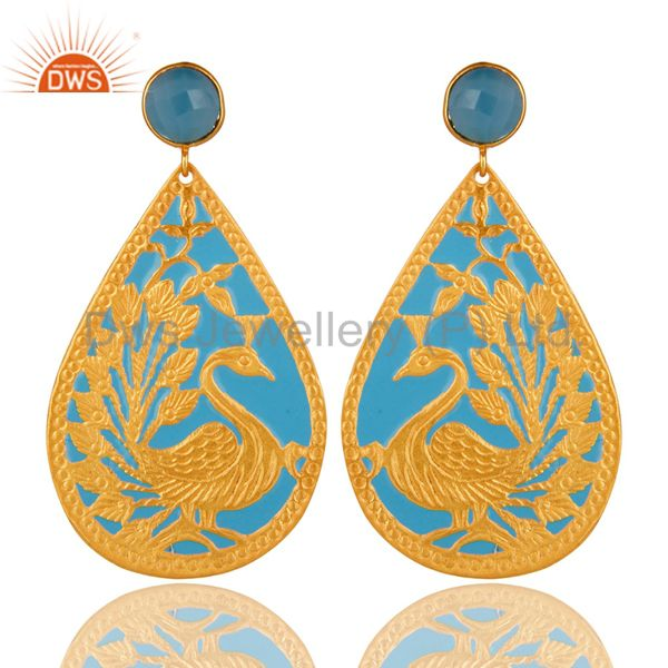 18K Yellow Plated Aqua Blue Chalcedony Gemstone Peacock Design Dangle Earrings