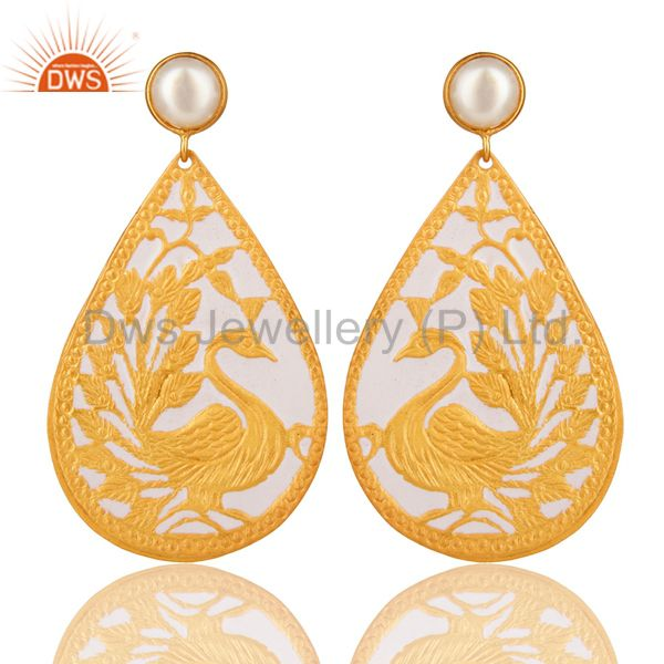 18K Gold Plated Natural Pearl Handmade Designer Peacock Earrings - White Enamel
