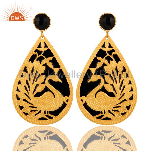18K Gold Plated Natural Black ONyx Peacock Designer Earrings With Black Enamel