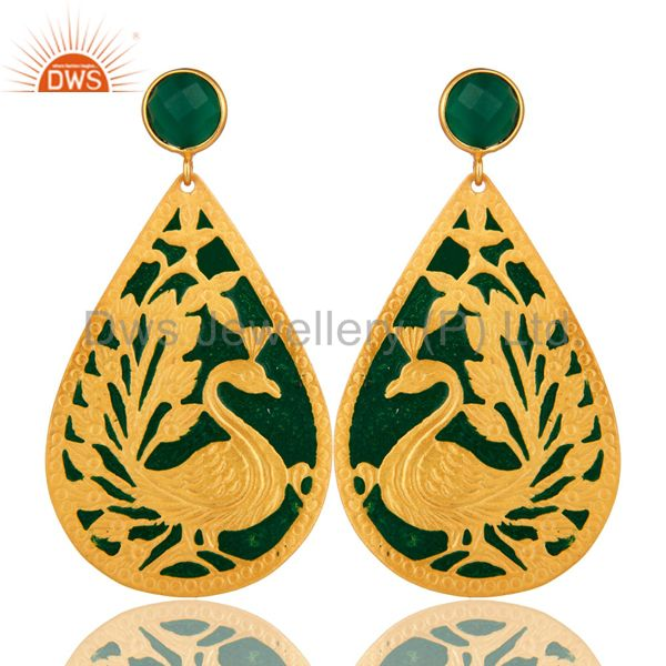 18K Yellow Gold Over Brass Handmade Green Onyx Designer Peacock Dangle Earrings