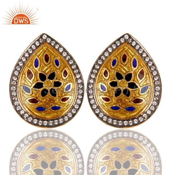 18K Gold Plated 925 Sterling Silver White Zirconia Enamel Studs Earrings