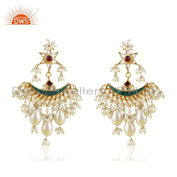 Indian Handmade Kundan Meena 925 Silver Traditional Earrings Manufacturer