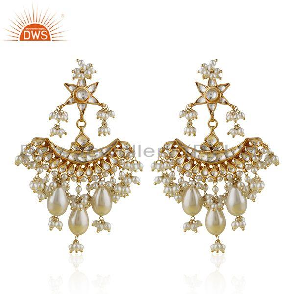 Natural White Pearl Gold Plated 925 Silver Traditional Kundan Earring Wholesaler