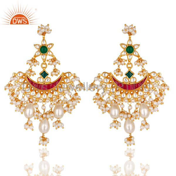 Beautiful Multi Color Pearl Beads Chandelier Earring Made In 925 Sterling Silver