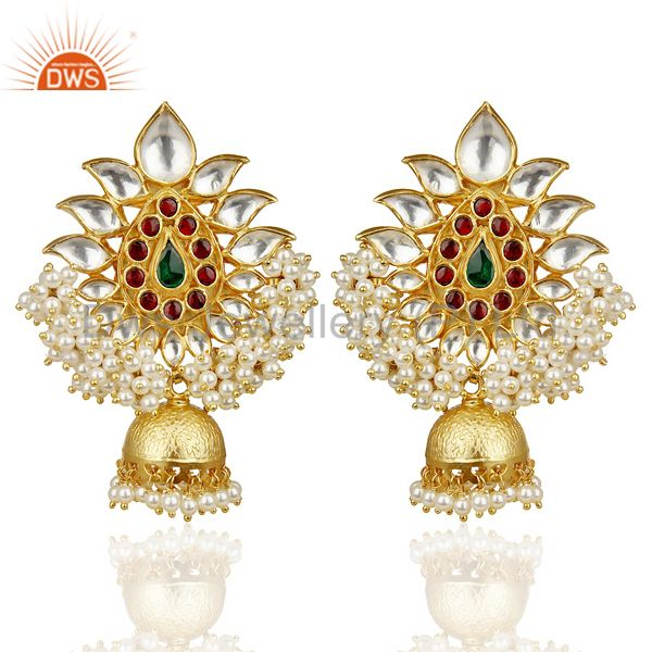 Kundan Polki 92.5 Sterling Silver Bollywood Jhumka Chand Bali Earring