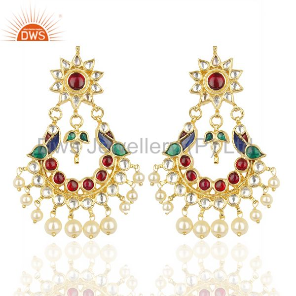Kundan Polki 92.5 Sterling Silver Peacock Traditional Dangle Earring