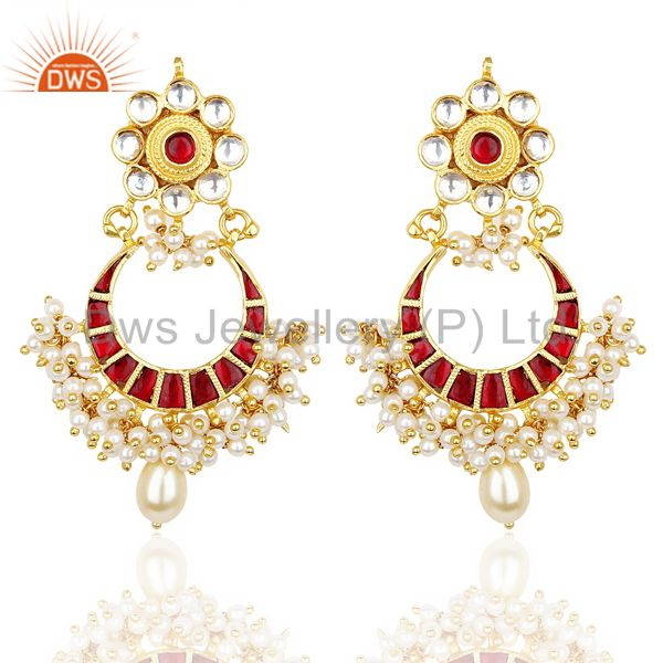 Kundan Polki Chandbali Traditional Handmade  92.5 Sterling Silver Earring