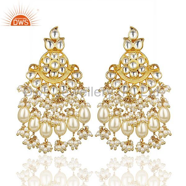 Silver Gold Plated Pearl Floral Traditional Kundan Polki Earring