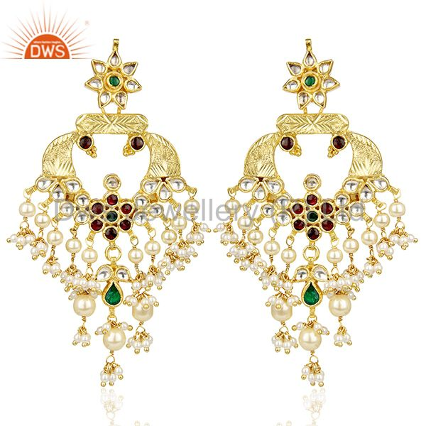 Kundan Polki silver Traditional peacock Red Green Chandbali Earring