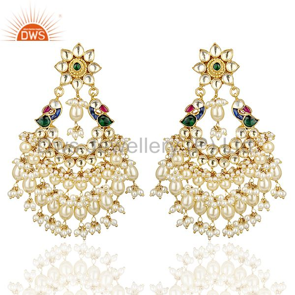Kundan Polki Traditional Silver peacock Blue Green Earring