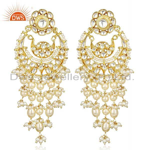 Silver Gold Plated Kundan Polki Pearl Hanging Earring