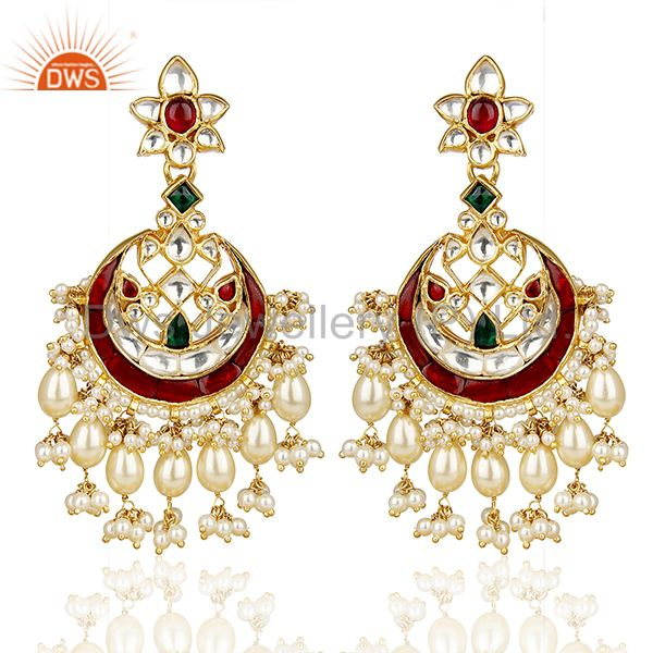 Kundan Polki 92.5 Sterling Silver Gold Plated Indian Wedding Jewellery