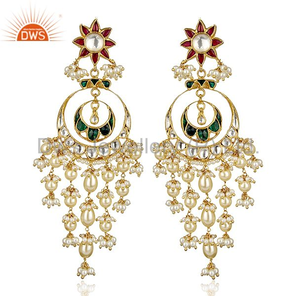 Bollywood Designer Antique Kundan Sterling Silver Gold Plated Earring Jewelry
