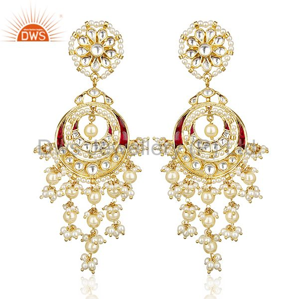 Silver Gold Plated Kundan Polki Chandbali Traditional Earring