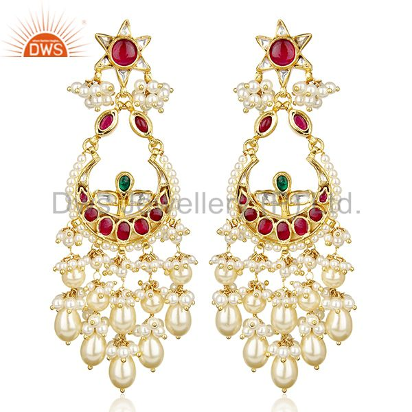Traditional Silver Gold Plated Red And Green Chandbali South Indian Jewelry