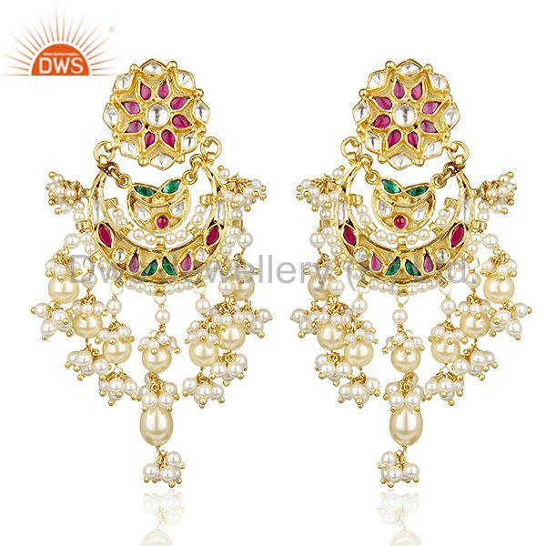 Festivity Stunner Gold Plated Bridal Indian Polkii Wholesale Silver Jewelry