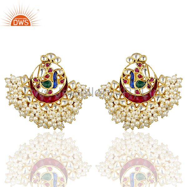 Peacock Multi Color Chandbali Kundan Polki Traditional Gold Plated Earring
