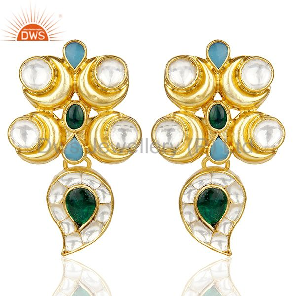 Beautiful Traditional Indian Bridal Gold Plated silver Pearl Studded Earring