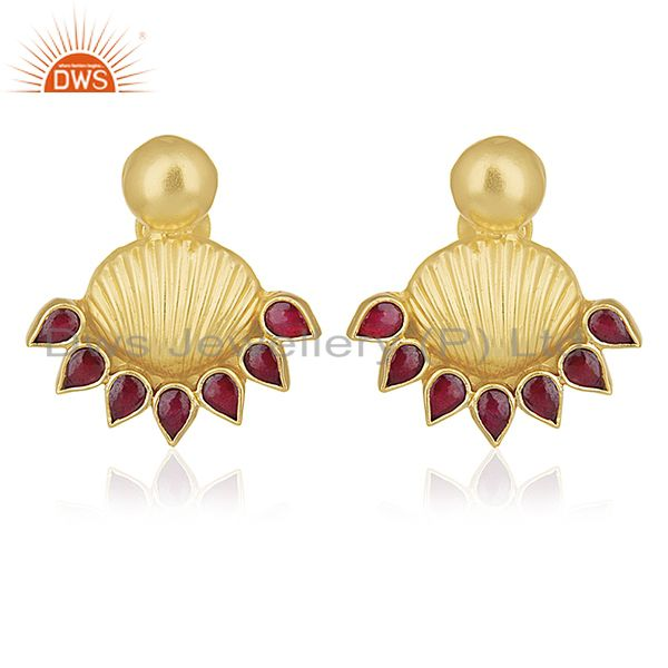 Red Stone Gold Plated Traditional Gold Plated Post Stud Wholesale Earring