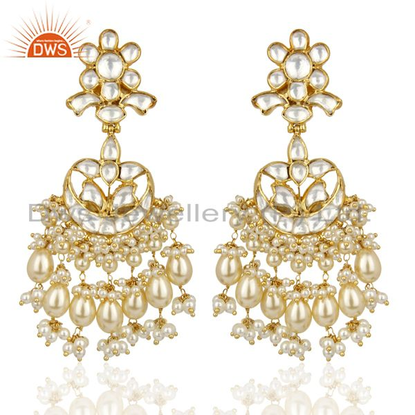 Silver Jadau Polki Kundan Traditional Dangle Gold Plated Wholesale Earring