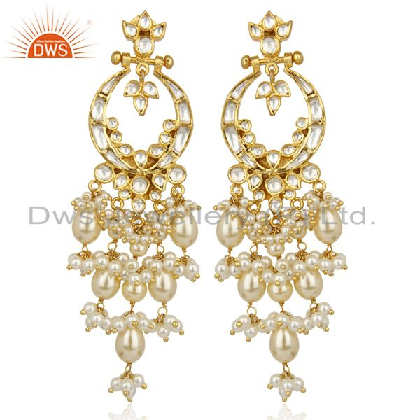 Pearl Embellished Silver Jadau Kundan Traditional Dangle Earring