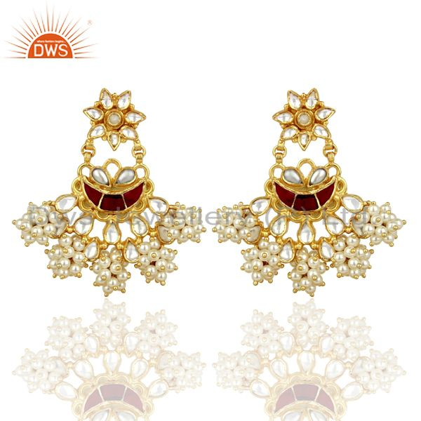Handcreafted Pearl Traditional Chandbali Silver Earring