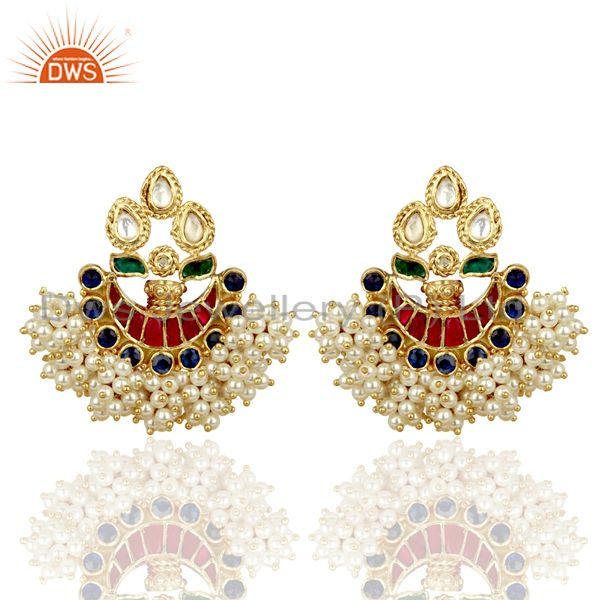 Exclusively Chandbali Traditional Red Green Silver Handcrafted Earring