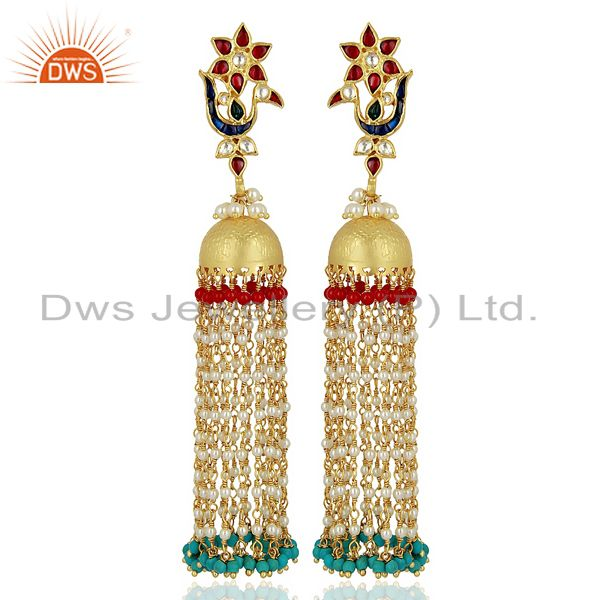 Peacock Colored Stone Jhumkas 925 Sterling Silver Gold Plated Kundan Jewelry