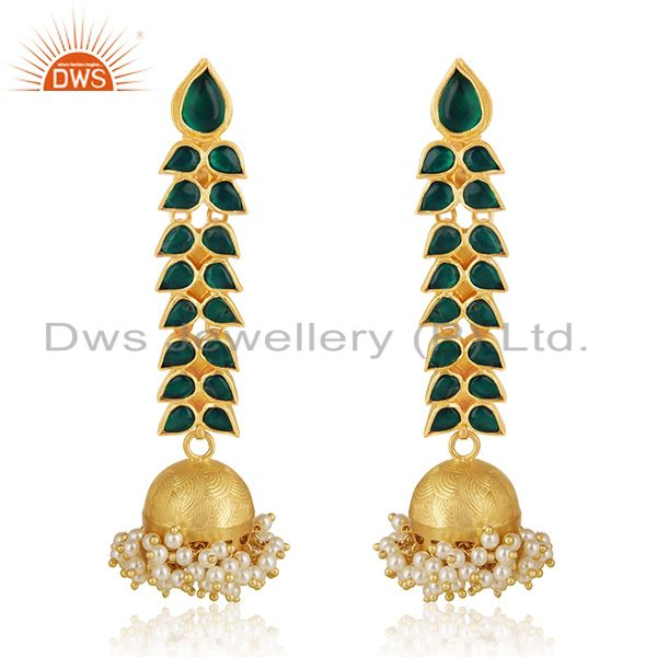 Indian Handmade Green Kundan 925 Silver Pearl Jhumka Earrings Wholesale