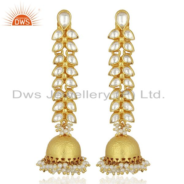 Traditional Kundan 925 Sterling Silver Gold Plated Jhumka Earring Jewelry