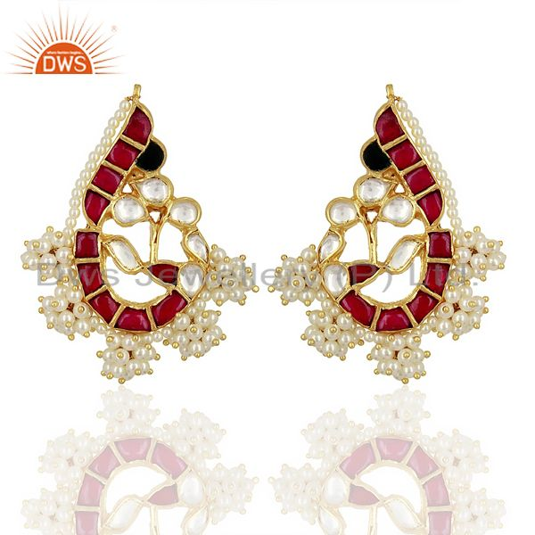 Kundan Polki Peacock Inspired Sterling Silver Gold Plated Traditional Jewelry