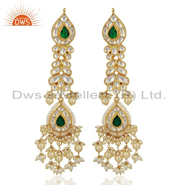 Kundan Polki Sterling Silver Gold Plated Bridal Wedding Jewelry Earring