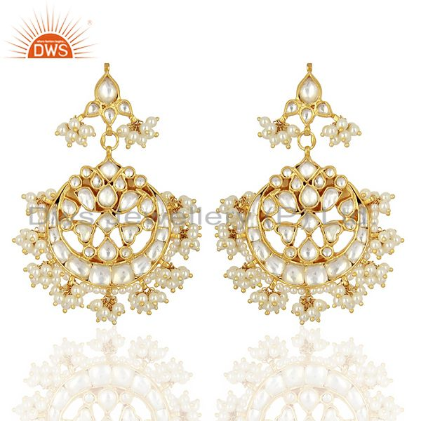 Kundan Polki With Pearl Drop 92.5 Sterling Silver Gold Plated  Indian Jewelry