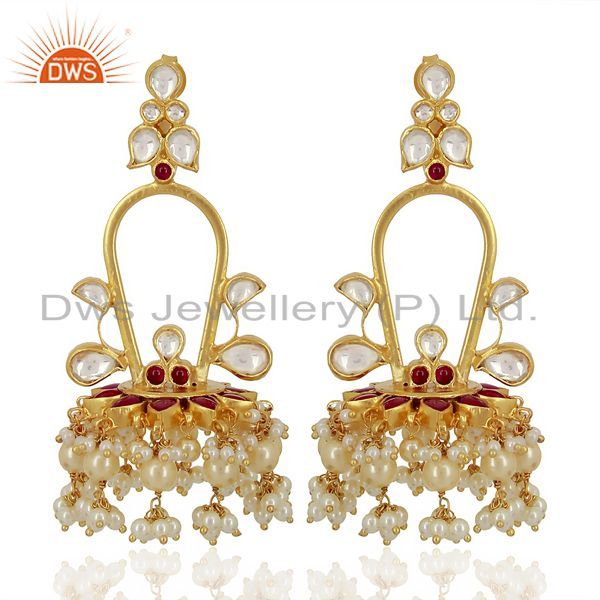 Royal kundan Long Jhumki  Sterling Silver Gold Plated Indian Traditional Jewelry