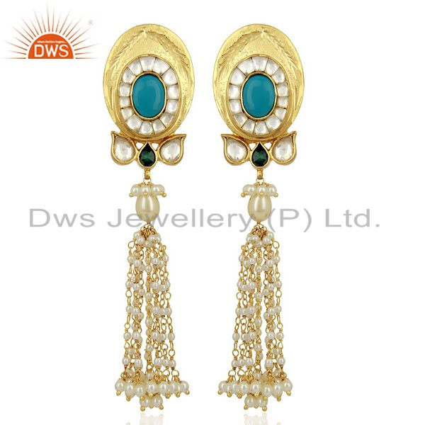 Kundan Polki With Pearl Drop 925 Sterling Silver Traditional Jewelry
