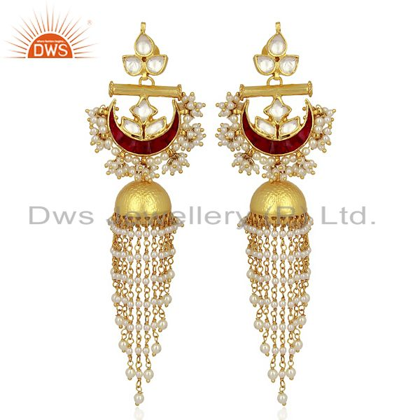 Kundan Polki With Pearl Jhumkas  Sterling Silver Gold Plated Traditional Jewelry