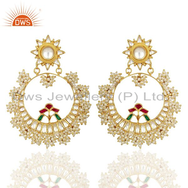 Designer Kundan Polki 925 Sterling Silver Gold Plated Chand Bali Earring Jewelry