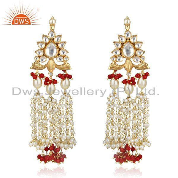 Indian Handmade Kundan Meena 925 Silver Pearl Earrings Manufacturers Jewelry