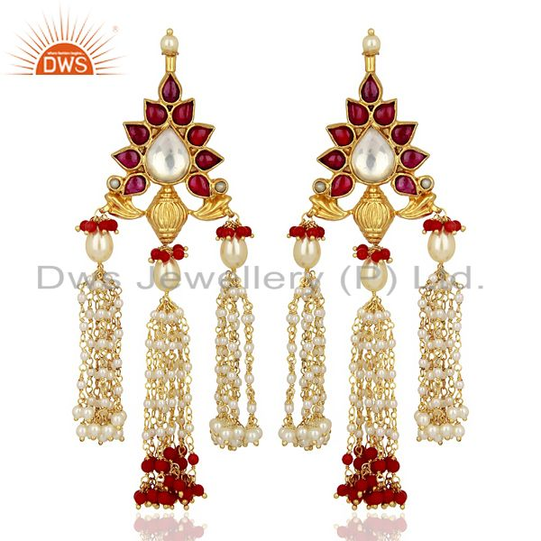 Coral With Pearl Gemstone 925 Sterling Silver Gold Plated Chandelier Earrings
