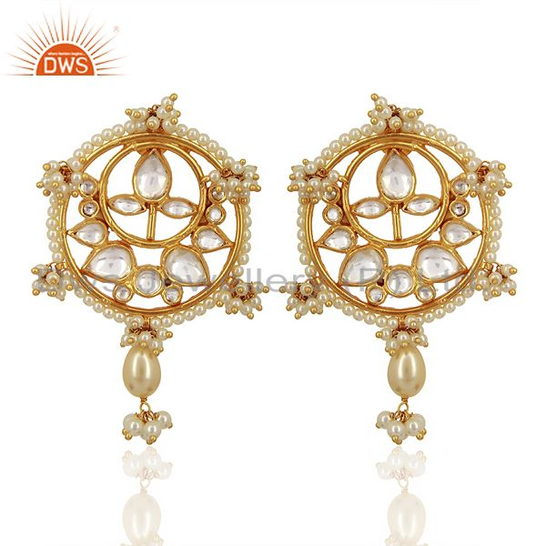Kundan Polki With Pearl Drop 925 Sterling Silver Gold Plated Wholesale Jewelry