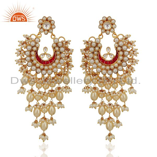 Kundan Polki With Pearl 925 Sterling Silver Gold Plated Chand Bali Earrings
