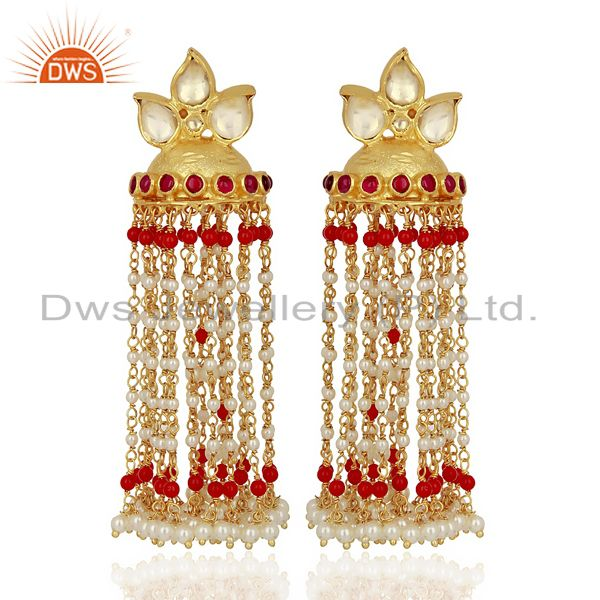 Kundan Polki Sterling Silver Gold Plated Earrings Wedding Collection Jewelry