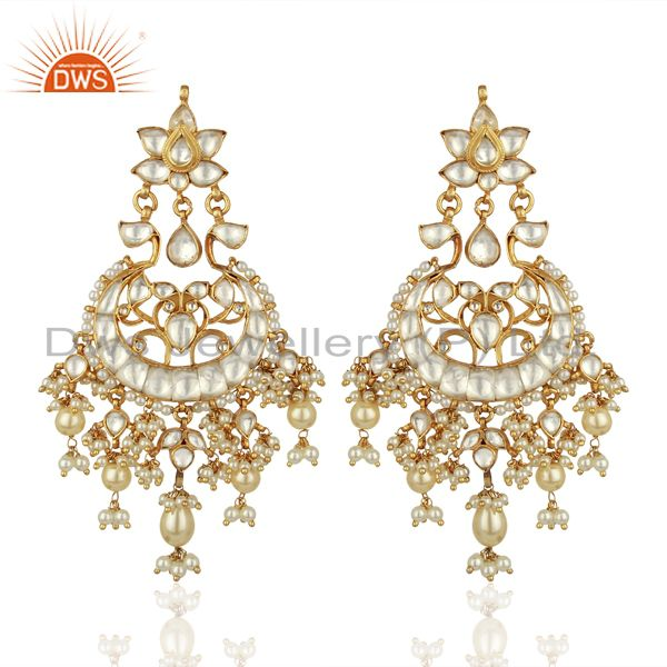 Designer Kundan Polki Sterling Silver Gold Plated Indian Bollywood Collection