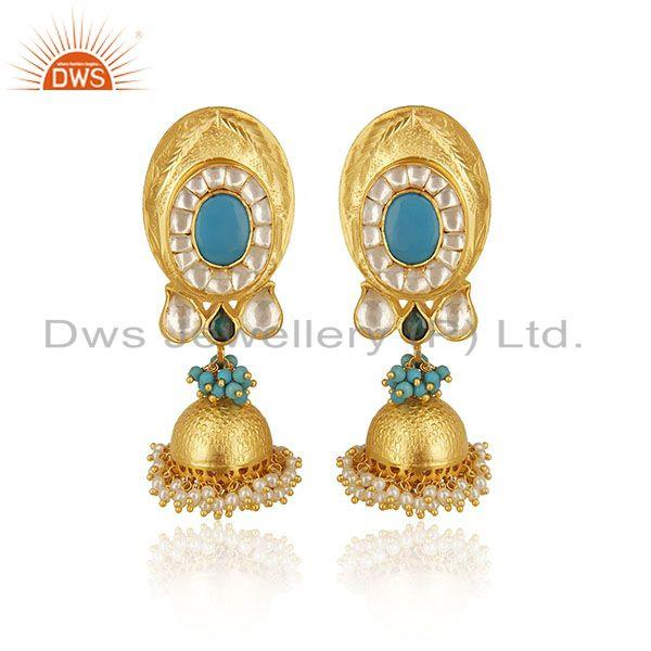 Indian Traditional Gold Plated Solid 925 Silver Kundan Jhumka Earrings Wholesale