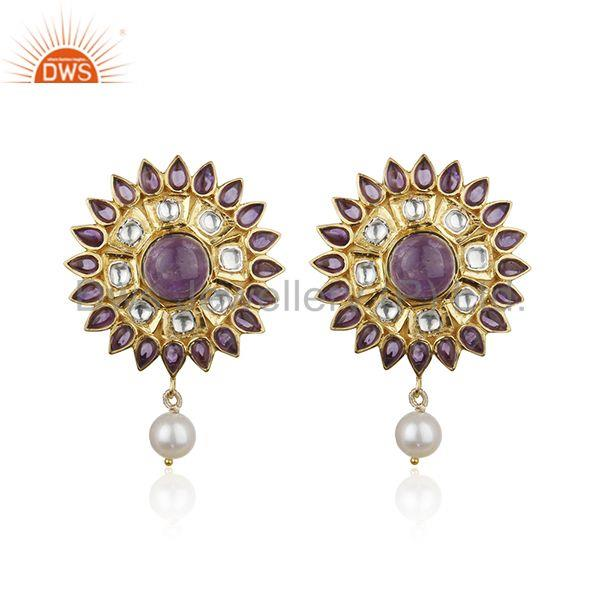 Natural Amethyst and Pearl Gemstone Floral Design 925 Silver Earring Supplier